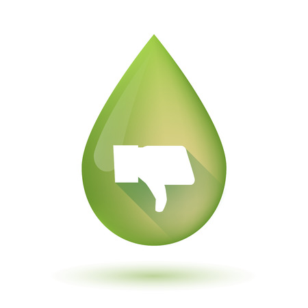 drop down: Illustration of an isolated olive oil drop icon with a thumb down hand
