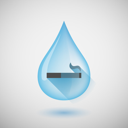 cigar shape: Illustration of a long shadow water drop icon with a cigarette