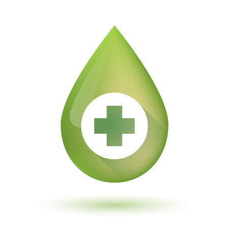 medical sign: Illustration of an isolated olive oil drop icon with a pharmacy sign
