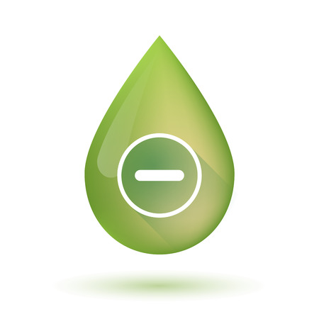 Illustration of an isolated olive oil drop icon with a subtraction sign Illustration