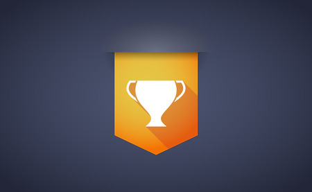 award winner: Illustration of a long shadow ribbon icon with a cup