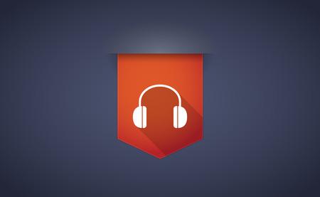 earphones: Illustration of a long shadow ribbon icon with a earphones Illustration
