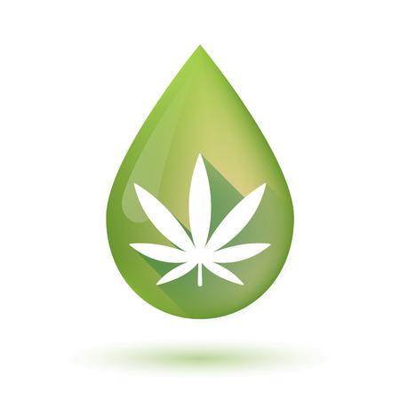 Illustratie van een geïsoleerde olijfolie druppel pictogram met een marihuana blad Vector Illustratie