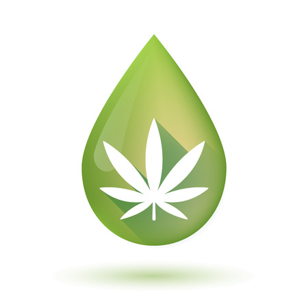 Illustration of an isolated olive oil drop icon with a marijuana leaf