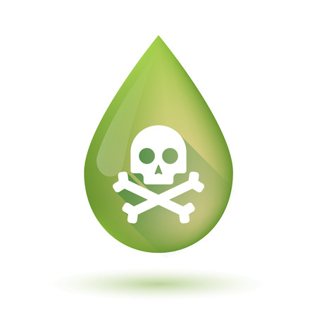 food poison: Illustration of an isolated olive oil drop icon with a skull