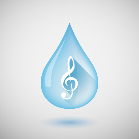 liquid g: Illustration of a long shadow water drop icon with a g clef Illustration