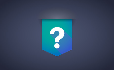 ask a question: Illustration of a long shadow ribbon icon with a question sign