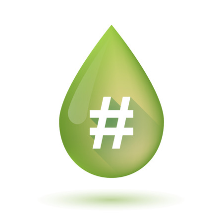 hash: Illustration of an isolated olive oil drop icon with a hash tag