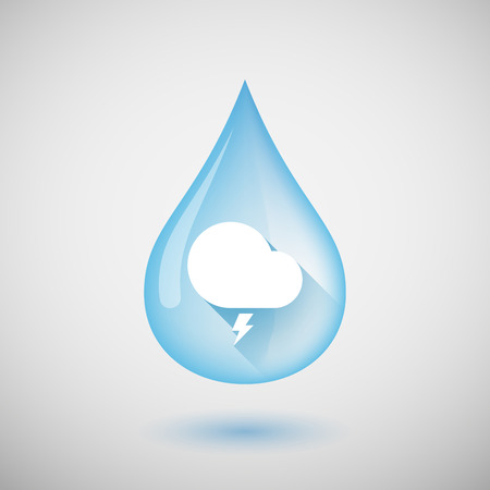 stormy: Illustration of a long shadow water drop icon with a stormy cloud Illustration