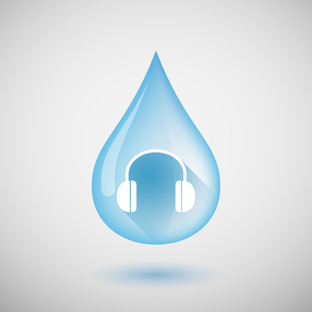 ear drop: Illustration of a long shadow water drop icon with a earphones