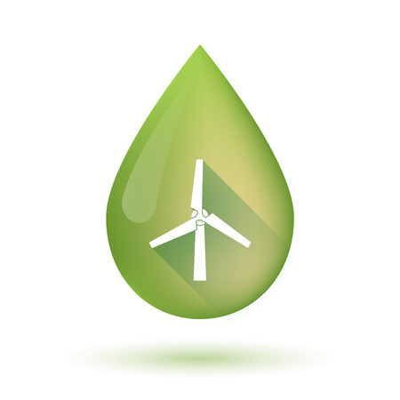 Illustration of an isolated olive oil drop icon with a wind generator