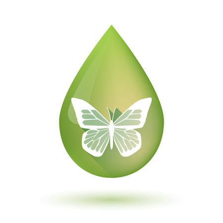 butterfly isolated: Illustration of an isolated Olive oil drop icon with a butterfly