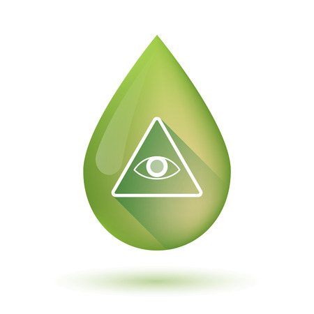 all seeing eye: Illustration of an isolated Olive oil drop icon with an all seeing eye Illustration