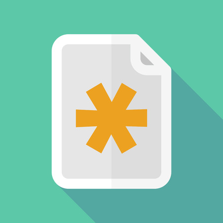 asterisk: Illustration of a long shadow document icon with an asterisk Illustration