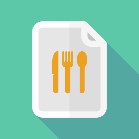 bureaucracy: Illustration of a long shadow document icon with cutlery Illustration
