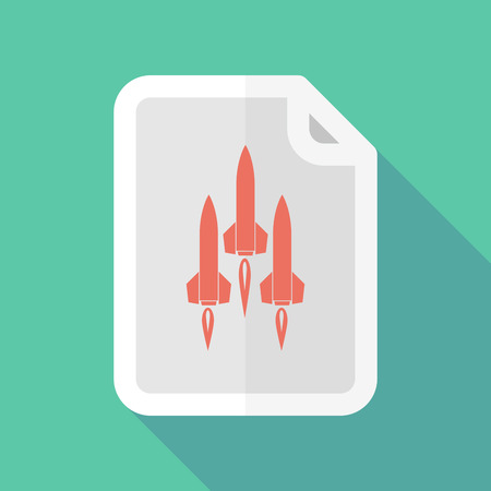 missiles: Illustration of a long shadow document icon with missiles