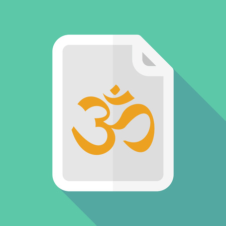 zen aum: Illustration of a long shadow document icon with an om sign Illustration