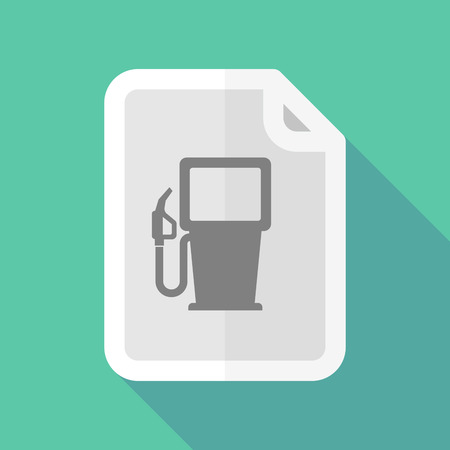 bureaucracy: Illustration of a long shadow document icon with a gas station Illustration