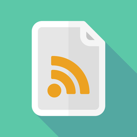 rss sign: Illustration of a long shadow document icon with an RSS sign