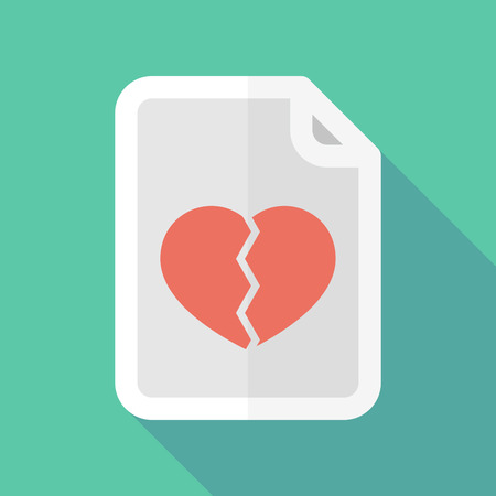 broken contract: Illustration of a long shadow document icon with a broken heart