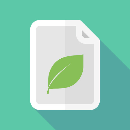 documentation: Illustration of a long shadow document icon with a leaf