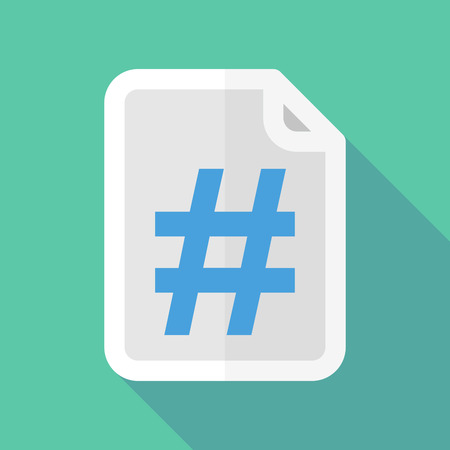 hash: Illustration of a long shadow document icon with a hash tag