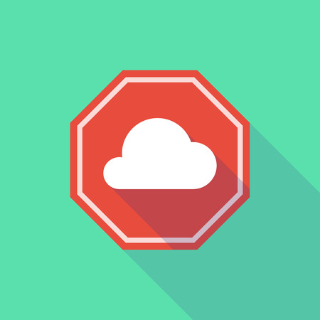 stop signal: Illustration of a long shadow stop signal with a cloud