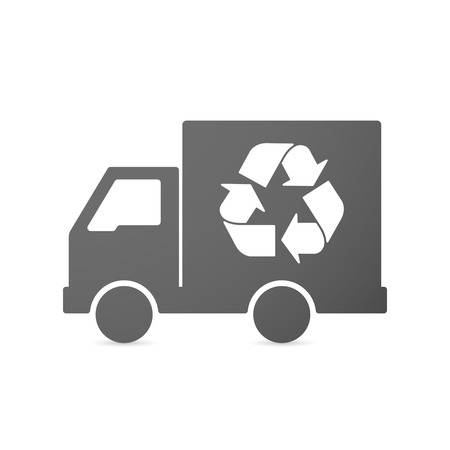 commercial tree service: Illustration of an isolated delivery truck icon with a recycle sign