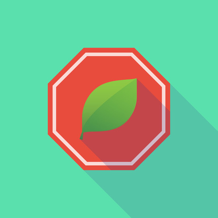 stop signal: Illustration of a long shadow stop signal with a leaf