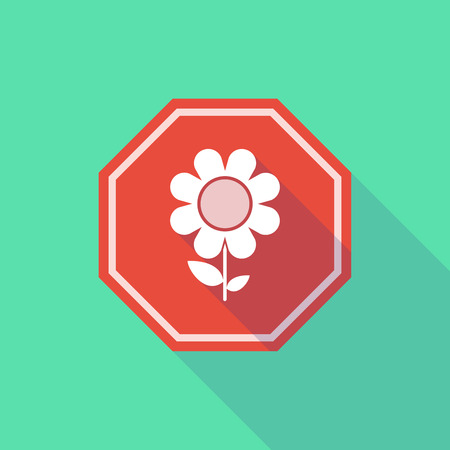 stop signal: Illustration of a long shadow stop signal with a flower