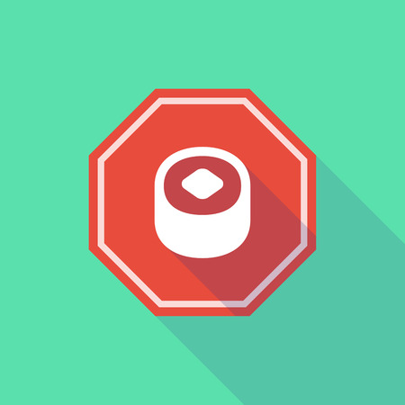 stop signal: Illustration of a long shadow stop signal with a piece of sushi
