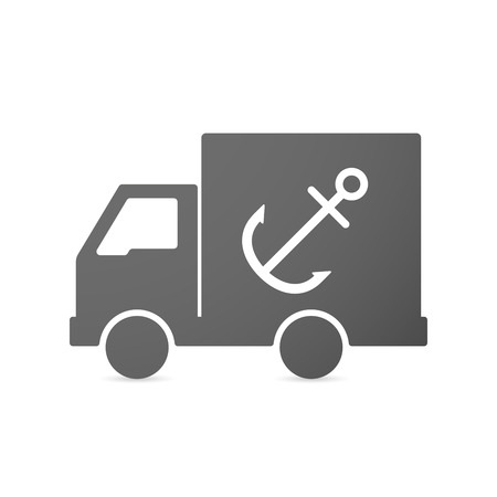 nautic: Illustration of an isolated delivery truck icon with an anchor