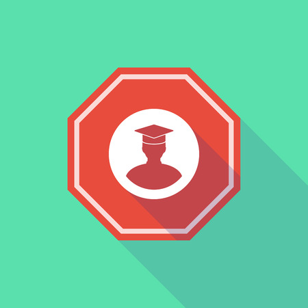 stop signal: Illustration of a long shadow stop signal with a student Illustration