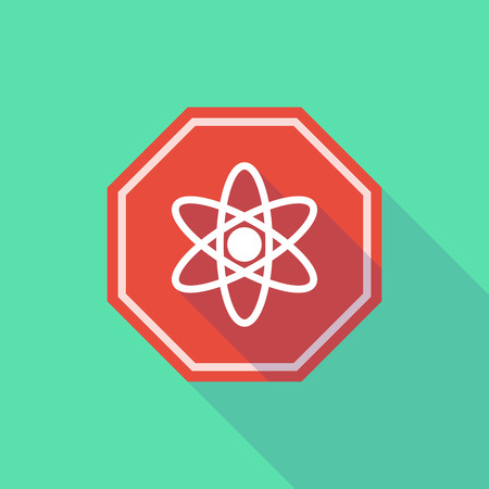 stop signal: Illustration of a long shadow stop signal with an atom