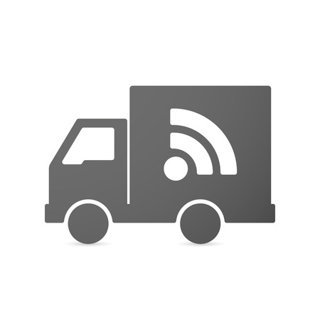 news van: Illustration of an isolated delivery truck icon with an RSS sign