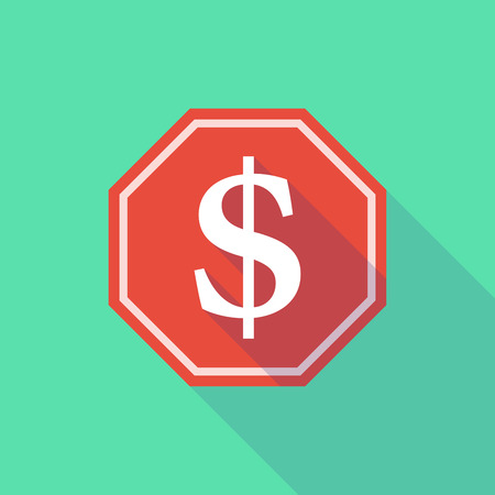 dollar sign icon: Illustration of a long shadow stop signal with a dollar sign Illustration