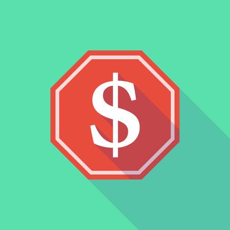 signo pesos: Ilustración de una señal de parada larga sombra con un signo de dólar Vectores