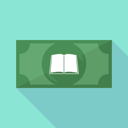 school bills: Illustration of a long shadow banknote icon with a book