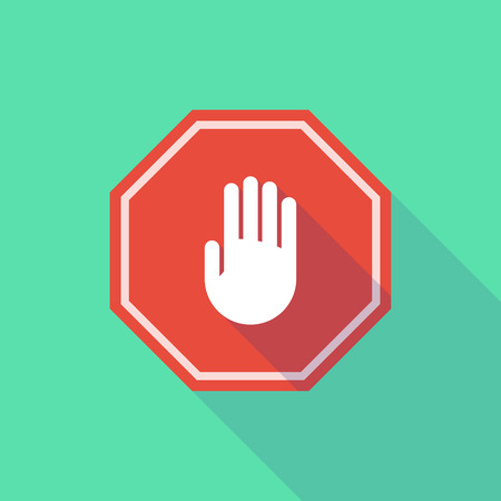 stop signal: Illustration of a long shadow stop signal with a hand