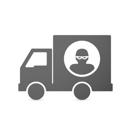 Illustration of an isolated delivery truck icon with a thief Illustration