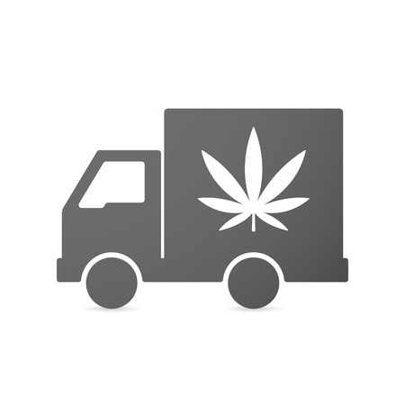 Illustration of an isolated delivery truck icon with a marijuana leaf