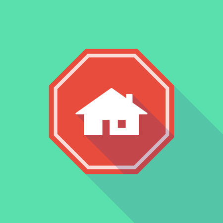 stop signal: Illustration of a long shadow stop signal with a house