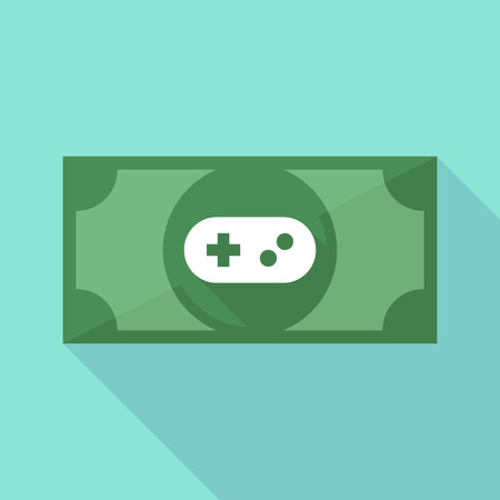 game pad: Illustration of a long shadow banknote icon with a game pad Illustration