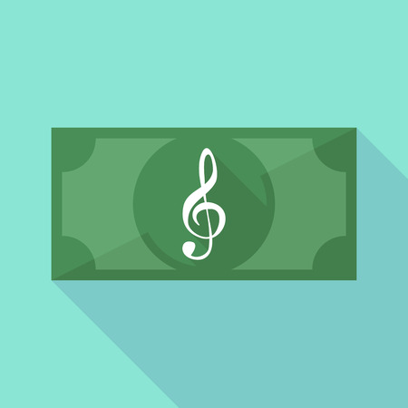 g clef: Illustration of a long shadow banknote icon with a g clef