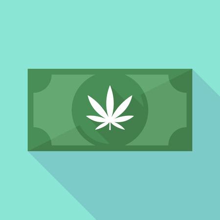 마리화나 잎과 긴 그림자 지폐 아이콘의 그림 일러스트
