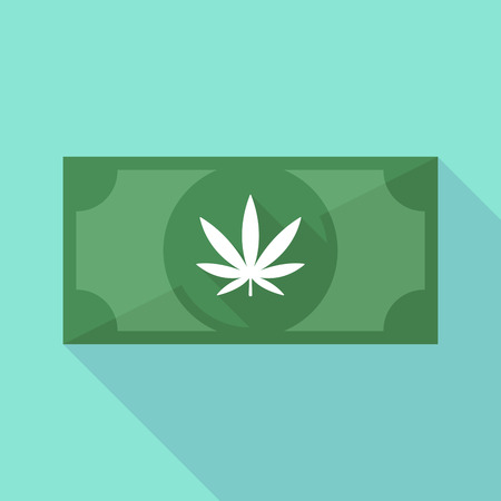 Illustration of a long shadow banknote icon with a marijuana leaf