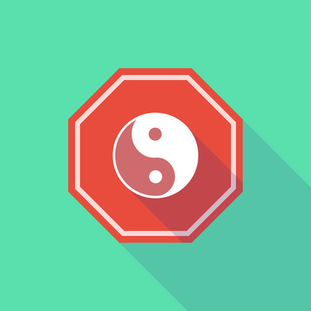 karma graphics: Illustration of a long shadow stop signal with a ying yang Illustration