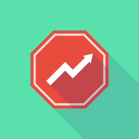 stop signal: Illustration of a long shadow stop signal with a graph Illustration