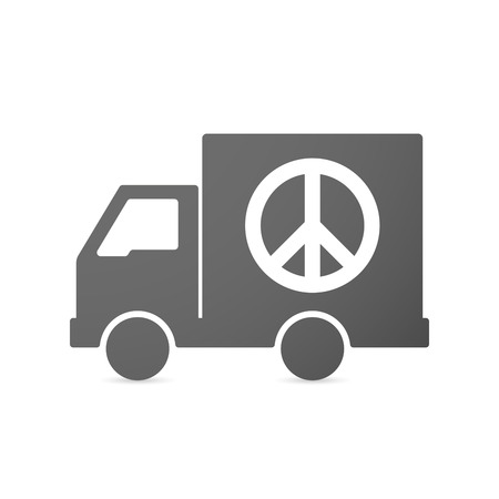 antiwar: Illustration of an isolated delivery truck icon with a peace sign
