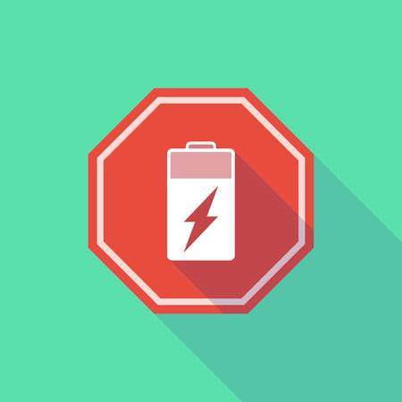 stop signal: Illustration of a long shadow stop signal with a battery Illustration